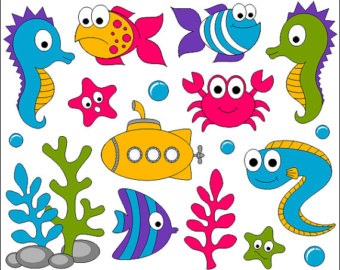 Marine Life clipart sea plant Under Submarine Digital The Cute