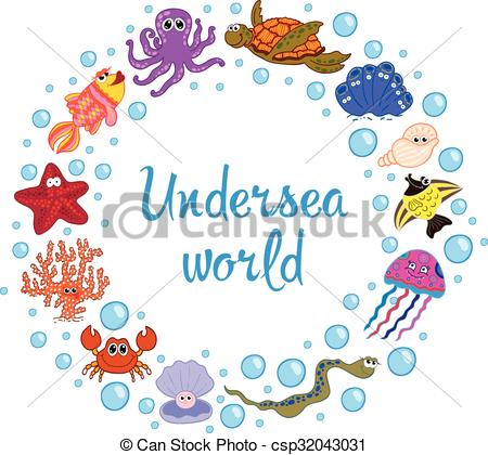 Marine Life clipart under sea Of of Ocean life Frame