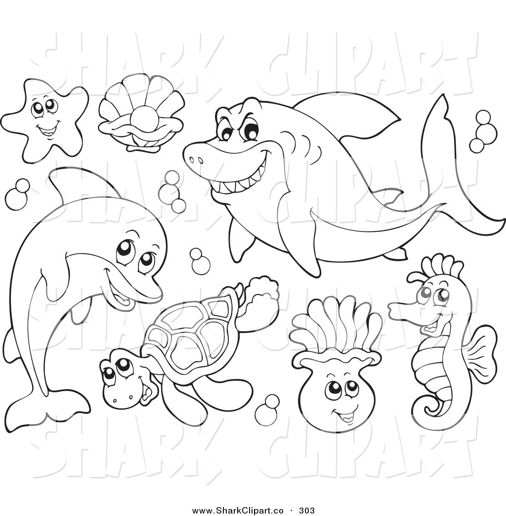 Black & White clipart sea life Sea Designs 4 Coloring Stock
