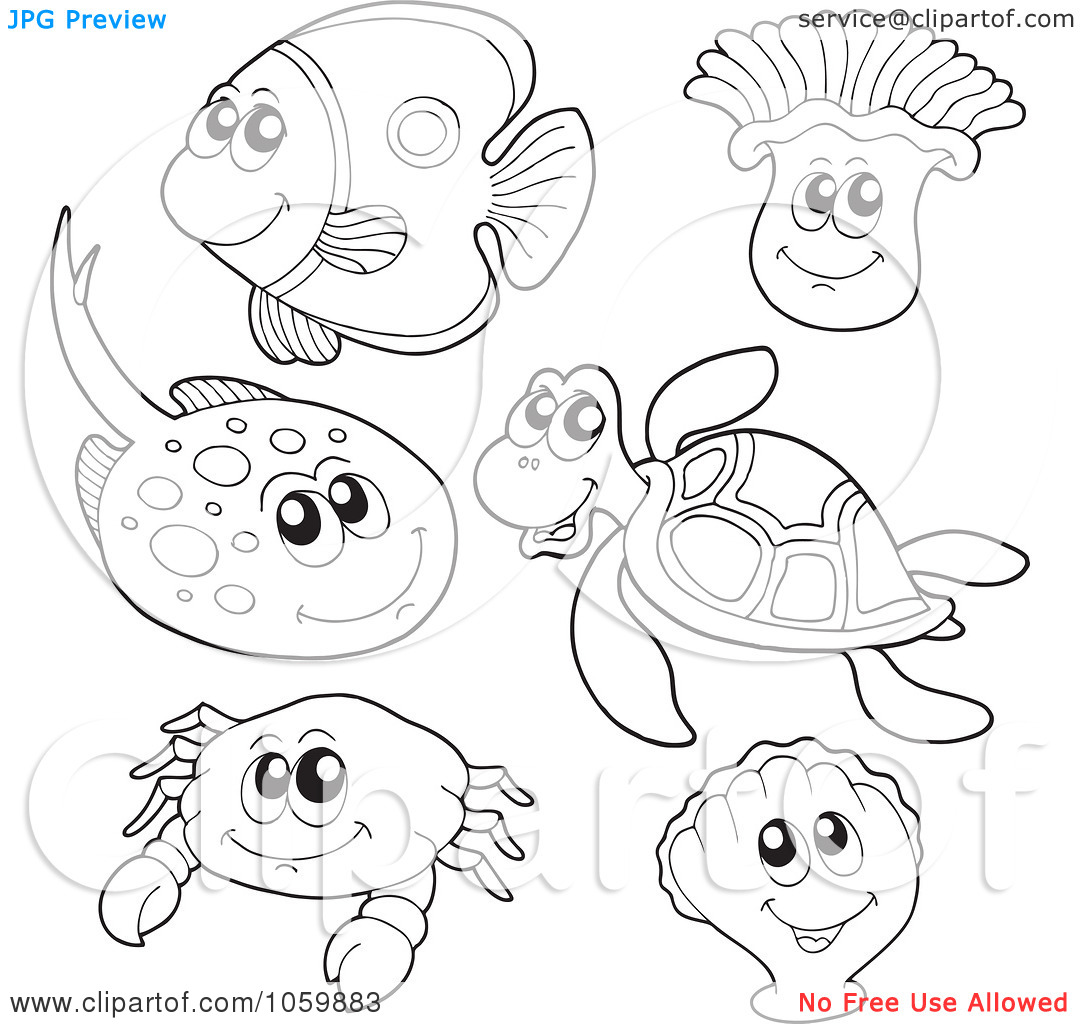 Drawn sea life underwate animal Free Pages Sea Pages eassume