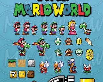 8 Bit clipart super mario bro Mario World clipart Mario Clipart