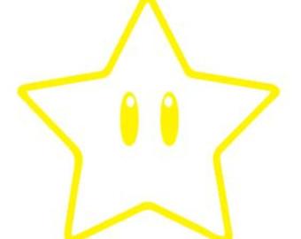 Mario clipart smiling star Sticker Logo & Car Outline