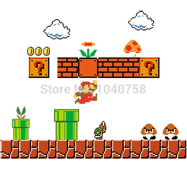 8 Bit clipart super mario bro Stickers Removable Super Super Mario