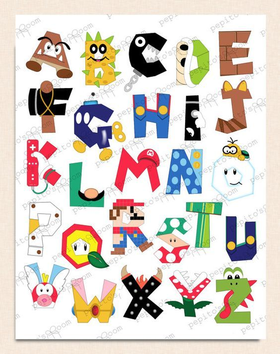 Mario clipart wall Party Wall 13 16x20 INK
