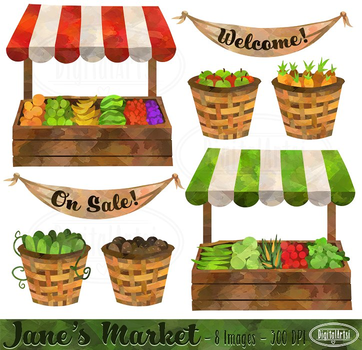 Market clipart Market Illustrations Watercolor on ~