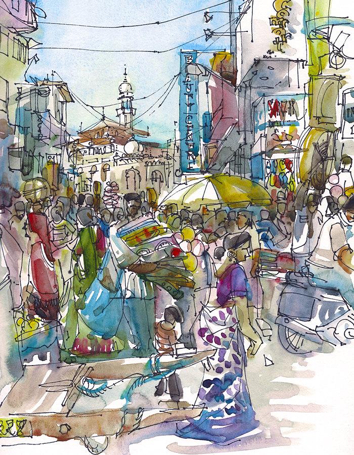 Market clipart crowded street Street 8x10  Crowded print