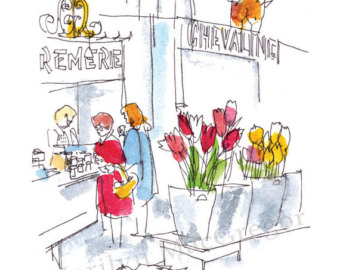 Market clipart france Print Etsy in flower sizes
