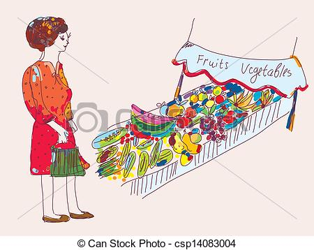 Market clipart fruits and vegetable Vector cartoon the the market