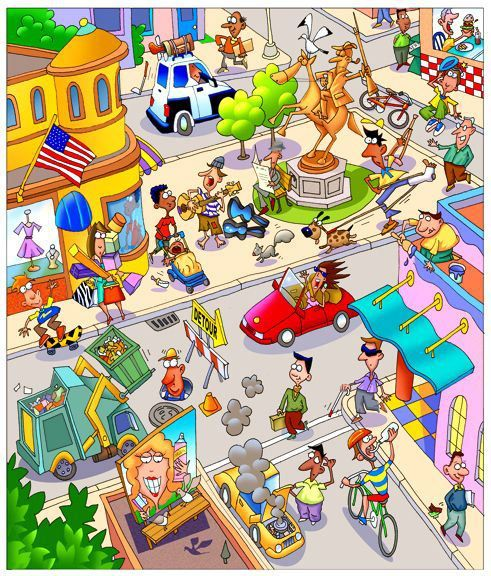 Town clipart busy city #4