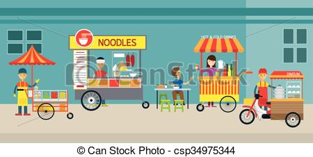Market clipart street market Vector Drink and Street