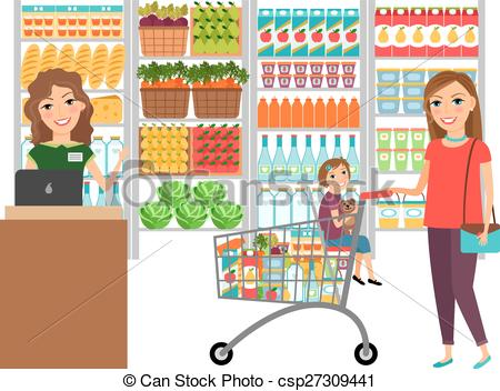 Market clipart supermarket Store Woman of Customer in