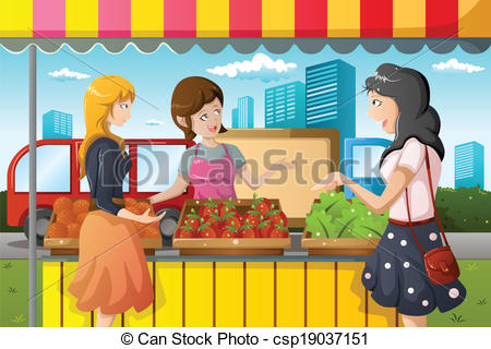 Market clipart vegitable In People shopping market Clipart