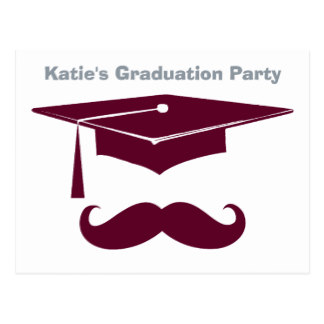 Graduation clipart maroon Mustache Postcards Zazzle Postcard Maroon