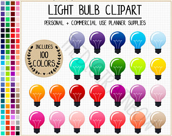Bulb clipart rainbow light 100 clipart SALE Science BULB
