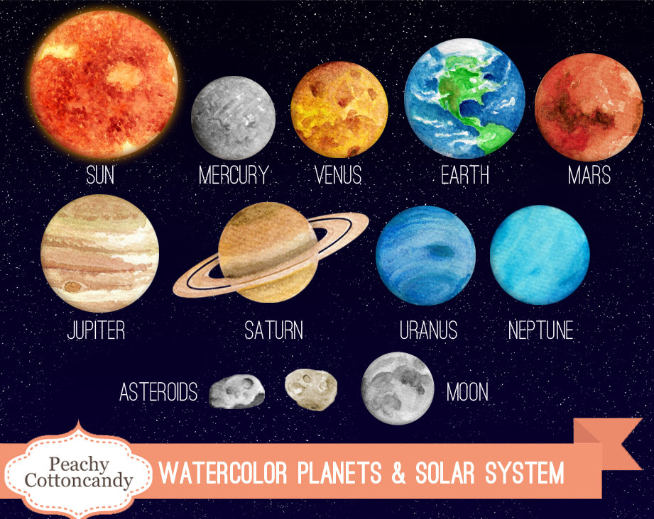 Mars clipart scince Watercolor FREE Solar and System
