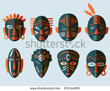 Mask clipart aboriginal Flat ritual Icons stock Mask