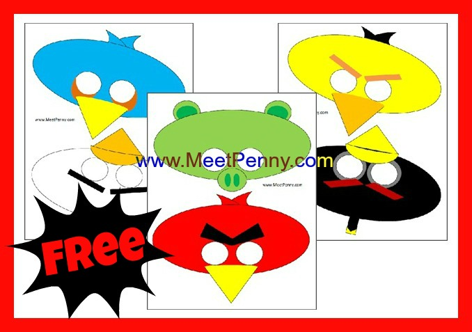 Mask clipart angry bird Theme Birthday party printable free