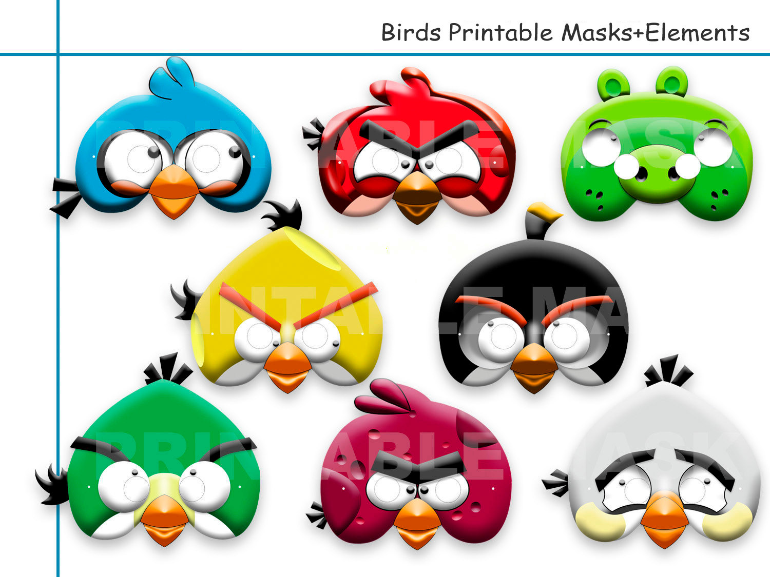 Mask clipart angry bird Etsy props mask Unique Printable