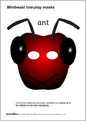Mask clipart ant Masks of mask Minibeast coloring