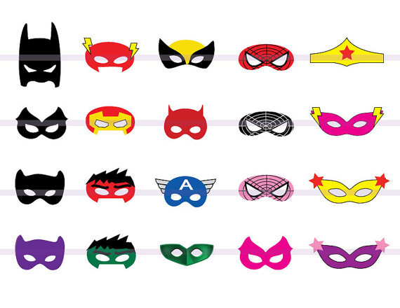 Wolverine clipart party mask CutOut Instand Masks Batman; Birthday