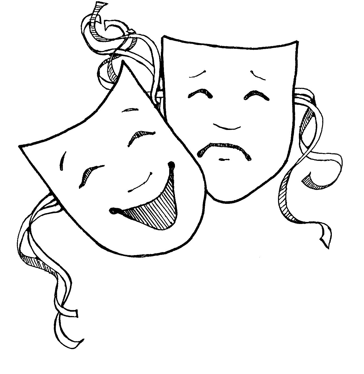 Theatre clipart black and white Art Masks Free Clipart Clip