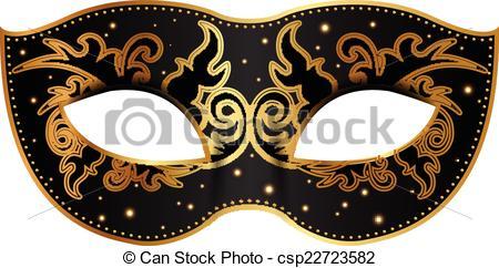 Masquerade clipart black mask Gold clipart gold metallic clipart