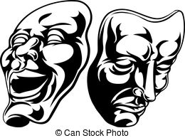 Theatre clipart mask drawing Vector Theatre Clipart  comedy