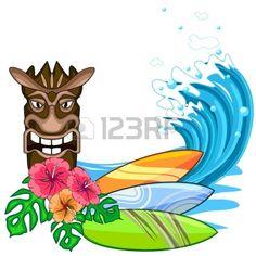 Mask clipart luau Surfboard Tiki LUAU Happy Tiki