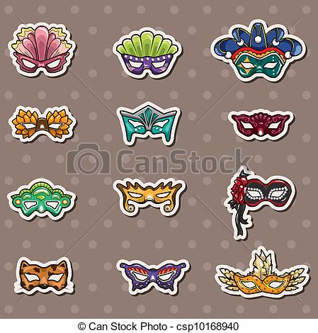 Mask clipart party Vector of Clip stickers