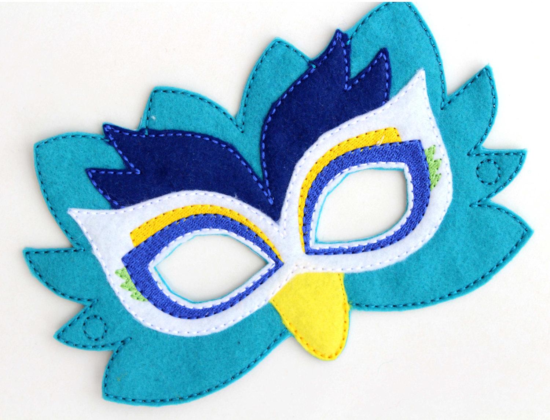 Drawn masks felt mask Costume Peacock Kids Face Mask