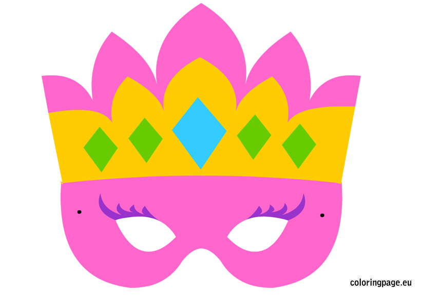 Mask clipart princess Share: Coloring Princess mask Page