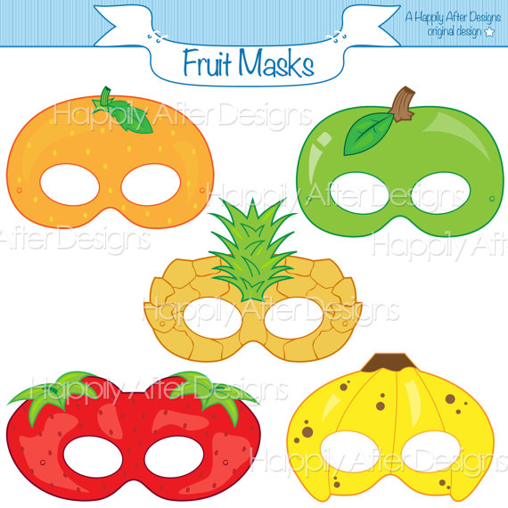 Orange (Fruit) clipart shape Printable mask Printable apple banana