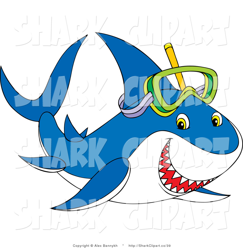 Mask clipart shark Shark Wearing Art Snorkel White