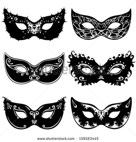 Masquerade clipart silhouette Mask Six silhouettes mask vector