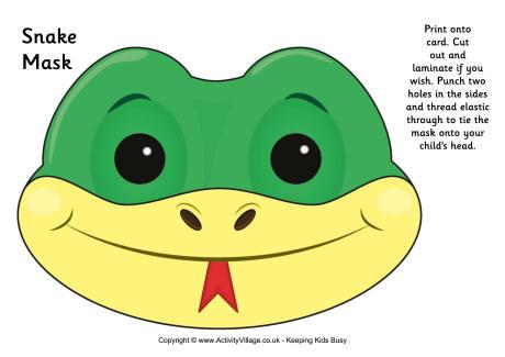 Serpent clipart face mask Printable Mask Mask Printable Snake