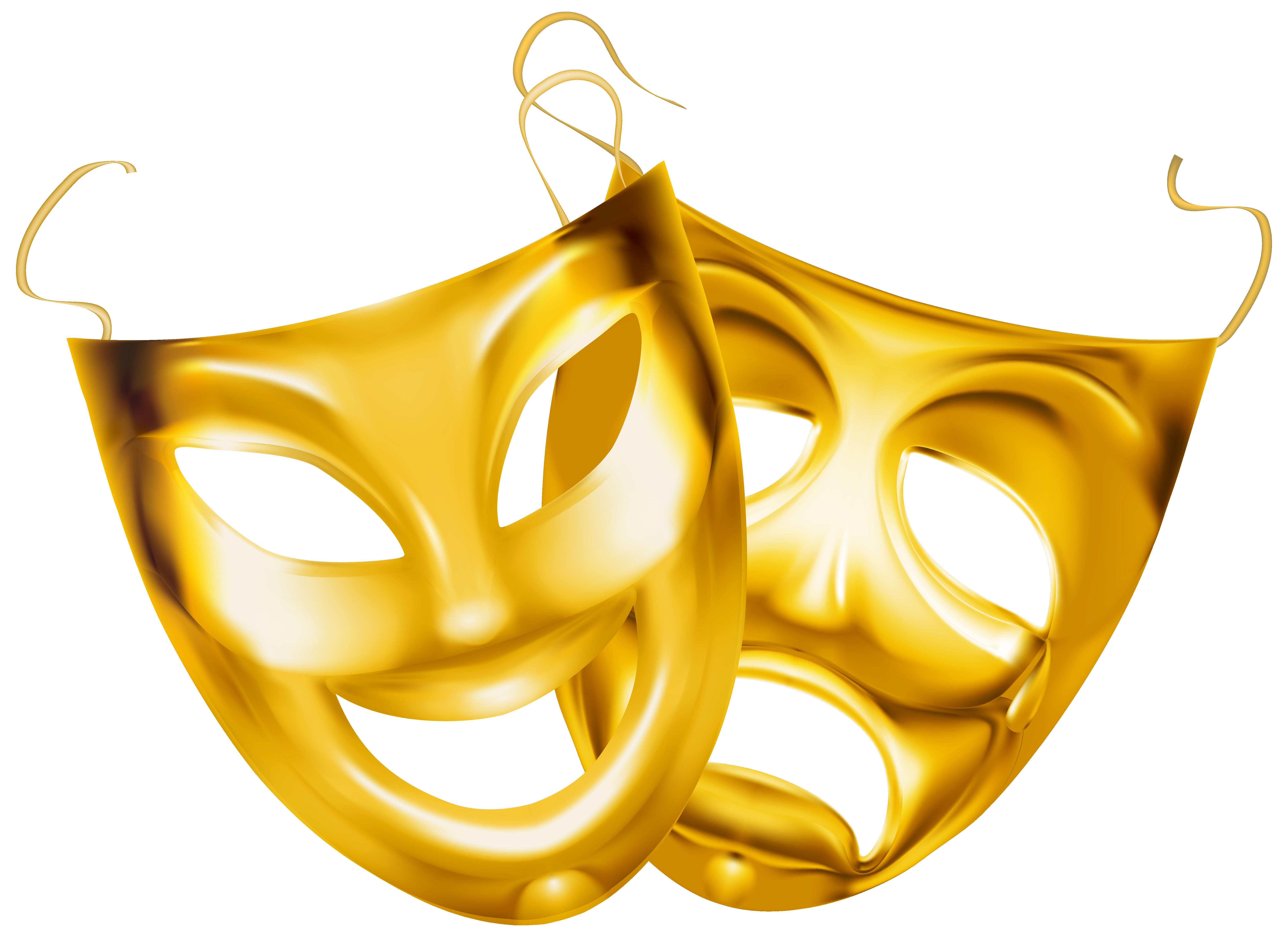 Theatre clipart mask transparent PNG size  Clipart Gold