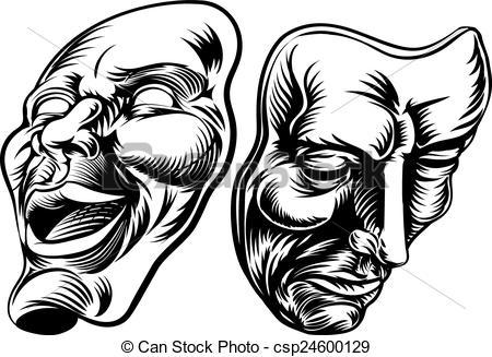 Theatre clipart mask vector Vector Illustration Theater Masks illustration
