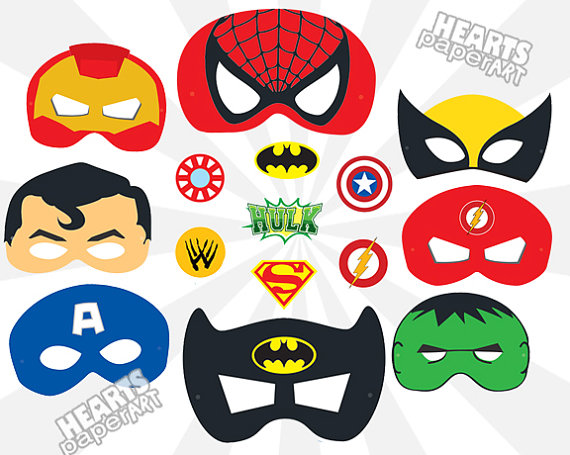 Wolverine clipart party mask Batman SuperMan Cutout SuperMan Spiderman