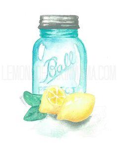 Water Color clipart mason jar lemonade Pink Lemonade $1 Jar Lemons