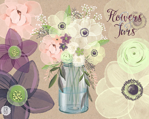 Bouquet clipart baby's breath Anemone florals Watercolor baby anemone