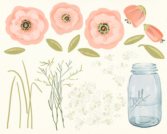 Bouquet clipart baby's breath Watercolor cream This painted digital