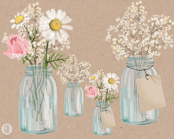 Bouquet clipart baby's breath Breath handpainted Watercolor mason baby
