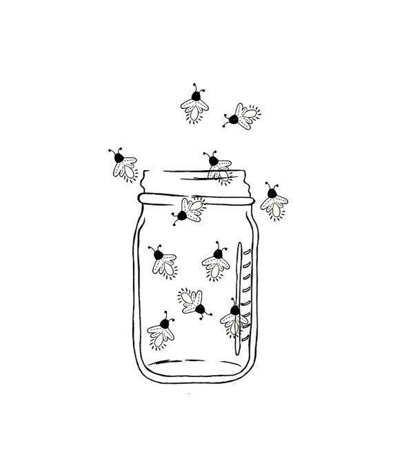Mason Jar clipart bug jar Clipart Outline tattoo Image Fireflies