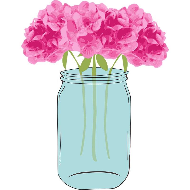 Vintage Flower clipart mason jar drawing Art Clip Candy Art Mason
