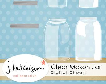 Mason Jar clipart clear Short Clipart DIY Etsy with