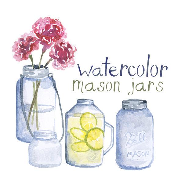 Mason Jar clipart glass jar Jar Custom art from Clipart
