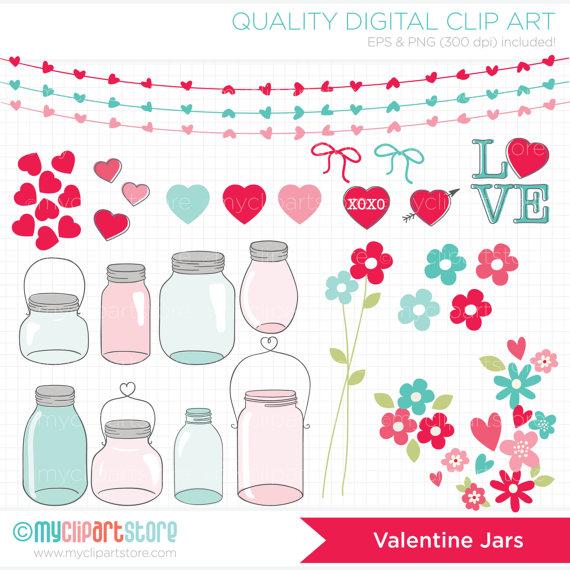 Mason Jar clipart masson Love Jars Valentine  Clipart