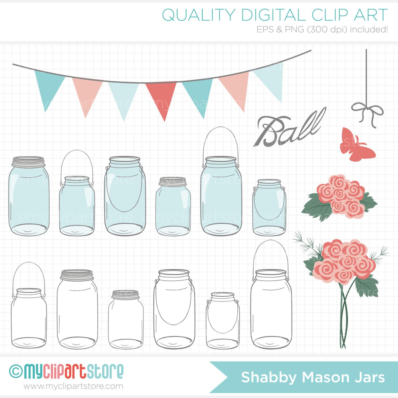 Mason Jar clipart masson Jars Roses Clipart Mother's Shabby