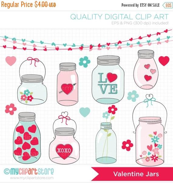 Mason Jar clipart masson Romantic bunting flowers wedding love
