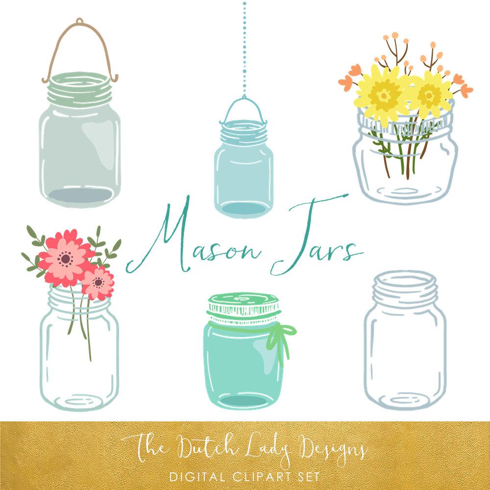 Mason Jar clipart masson 20 Set Mason Images Jar